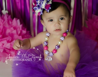 Purple Cake Smash Outfit - Fuchsia Purple Ivory - Purple Tutu Set - Stacked Boutique Bow - Chunky Necklace - First Birthday Photos