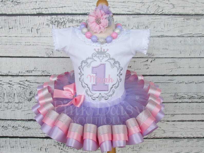 Pink /& Gold Baby Deer 1st Birthday Ribbon Trimmed Tutu Appliqué Outfit
