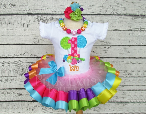 5300871e Candyland Birthday Outfit - Sweet Shoppe - Rainbow Ribbon Tutu Set - First  Birthday Dress - Candy Shop - Candy Land - Personalized Shirt