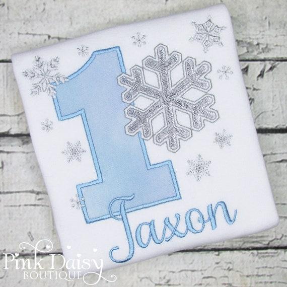 1st Birthday Embroidery Applique Shirt Silver Custom Pink Snowflake Birthday Shirt Winter ONEderland Birthday Shirt Birthday