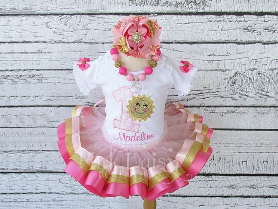 9e5885c27 Pink Gold Sunshine Birthday Outfit - Ribbon Trim Tutu Set - You Are My  Sunshine - Applique Shirt - Personalized - First Birthday Dress