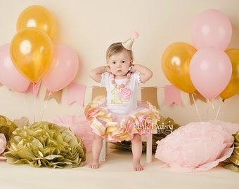 Girls Birthday Tutu Outfit - Pink and Gold Tutu Set - Ribbon Trim Tutu - 1st Birthday Dress - Personalized Birthday Tutu - 3D Cupcake Outfit