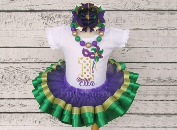 Girl\u2019s Mardi Gras Mask Applique Dress
