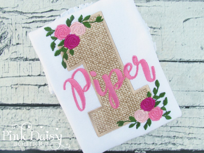 Floral Birthday Shirt  Roses and Burlap  Floral  Flowers  image 0