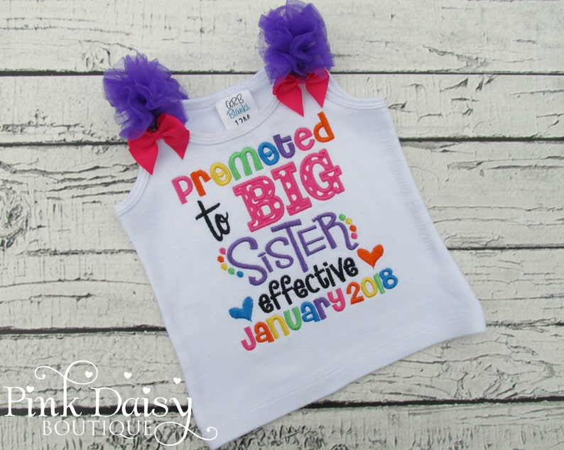 Promoted to Big Sister Shirt  Pregnancy Announcement  image 0