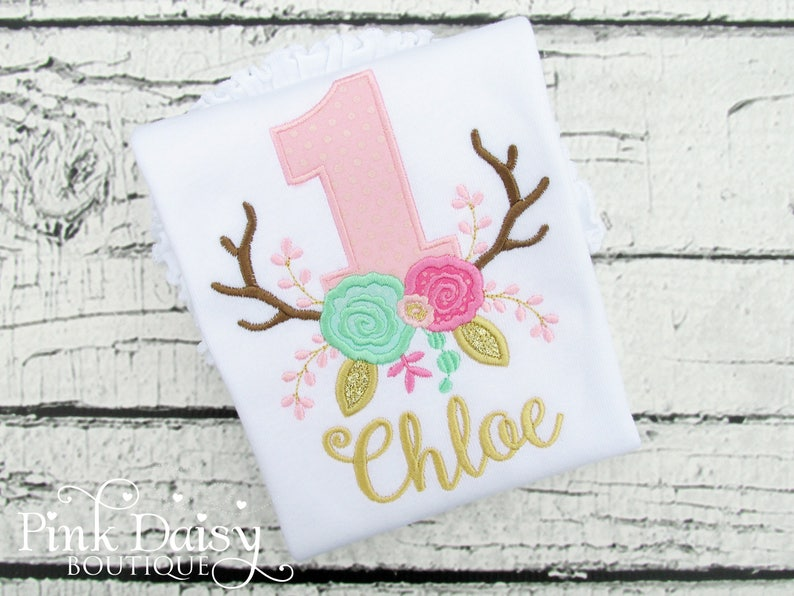 Floral Antlers Birthday Shirt  Pink Mint Gold  Boho Birthday image 0