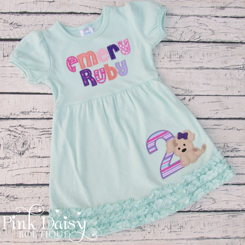 Girls Puppy Birthday Dress  Dog Applique Dress  Personalized image 0