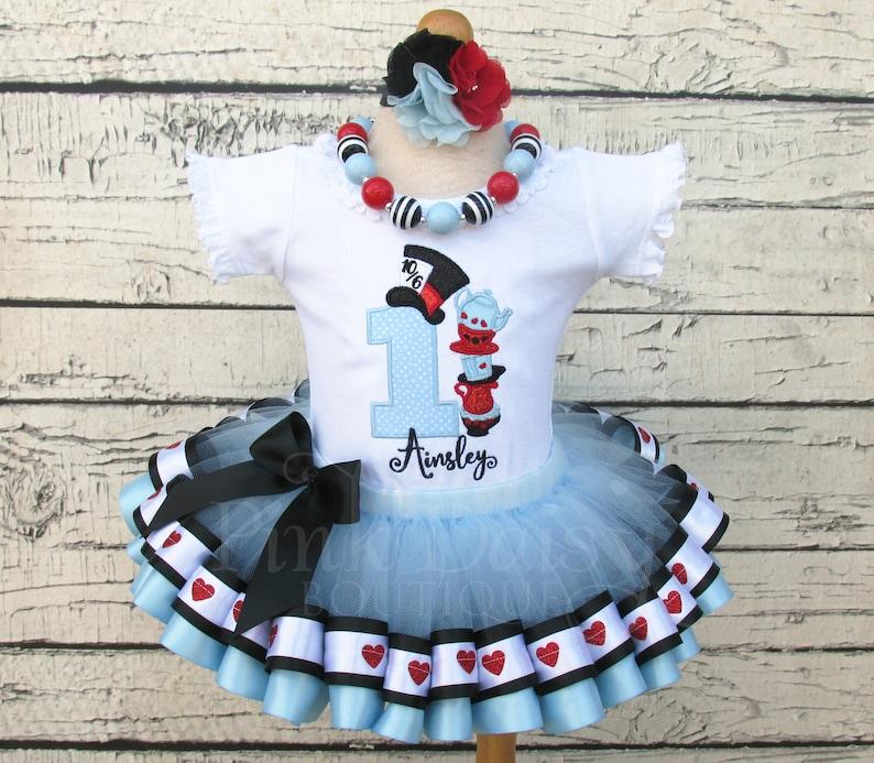 Alice in Wonderland Birthday Outfit  Alice in ONEderland Tutu image 0