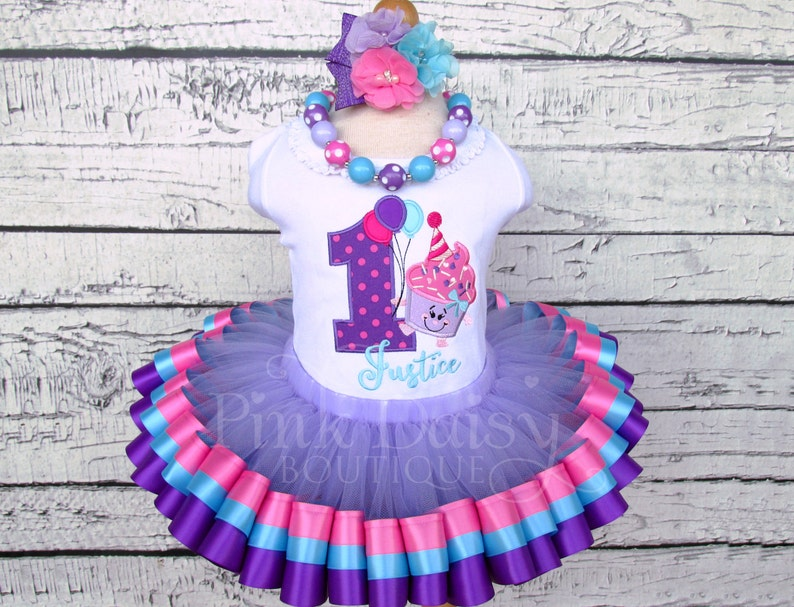 816f14a5484f Our Lil Cupcakes 1st Birthday Outfit Pink Purple Blue