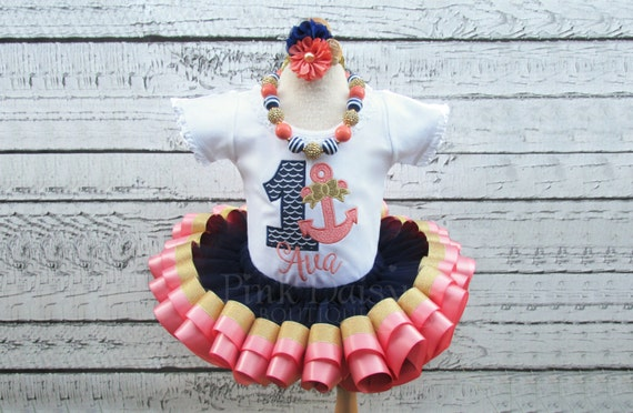 Girls navy blue coral and gold nautical appliqué shirt and
