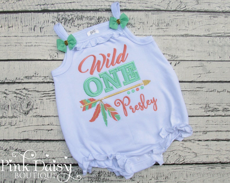 Wild One Birthday Bubble Romper  Tank Top Bodysuit Shirt  image 0
