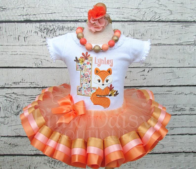Fox Birthday Outfit  Ribbon Tutu Set  Woodland Fox  Boho image 0