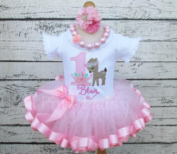 416c535f1 Baby Deer Birthday Outfit - Woodland Fawn Birthday Outfit - 1st Birthday  Tutu - First Birthday Dress - Ribbon Trim Tutu Set - Applique Shirt