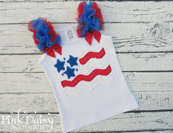 afc55f81aa76 Girls Fourth of July Shirt - Tank Top - Bubble Romper - Bodysuit -  Personalization Included - Stars Stripes - Independence - Red White Blue