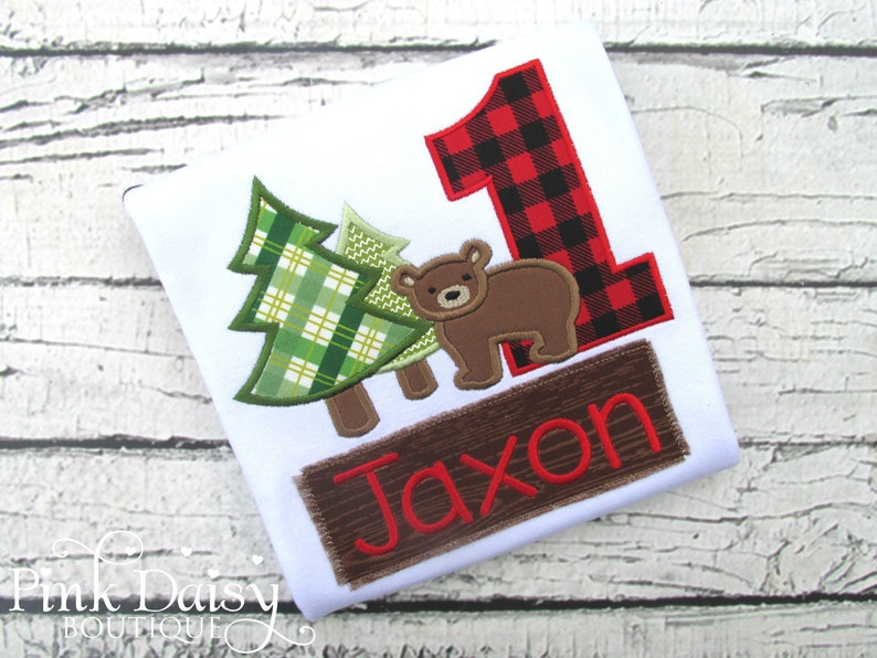 Lumberjack Birthday Shirt  Bear Trees  Buffalo Plaid  image 0