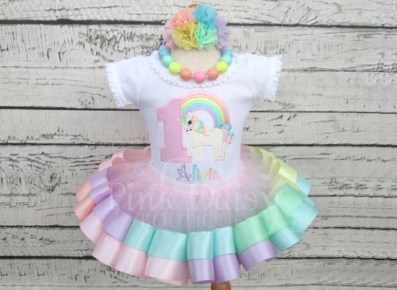 93eb38c14 Pastel Rainbow Unicorn Ribbon Tutu - Unicorn Birthday Tutu Outfit - Pastel  Rainbow Unicorn - Unicorn Birthday Dress - Ribbon Trim Tutu Set