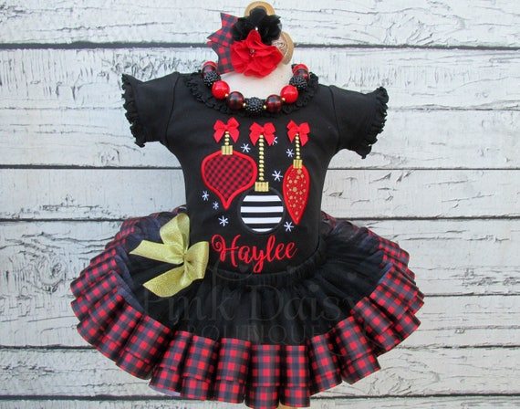 8b1fba69974e Girls Christmas Outfit - Buffalo Plaid Christmas Dress - Red Black Gold -  Snowflake - Ornaments - Ribbon Trim Tutu - Personalized - Applique