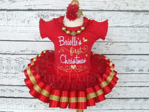 ba25dd493d84a Baby Girls First Christmas Outfit - Christmas Tutu Set - Red and Gold Tutu  - Ribbon Trimmed Tutu Outfit - 1st Christmas - Holiday Dress