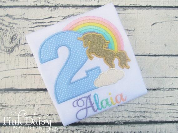 dd0d2f51 Unicorn Birthday Shirt - Pastel Unicorn Shirt - Rainbow Unicorn - Pastel  Rainbow - Gold Unicorn - Unicorn Silhouette - Applique Shirt