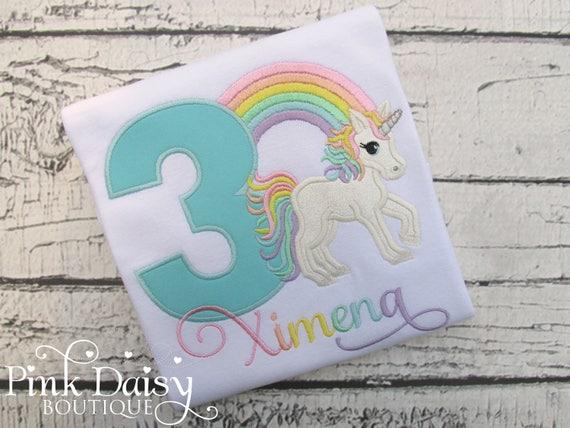 69b2e37f Unicorn Birthday Shirt - Pastel Rainbow Unicorn Shirt - Pastel Unicorn  Birthday Shirt - Girls First Birthday - Monogrammed Unicorn Shirt