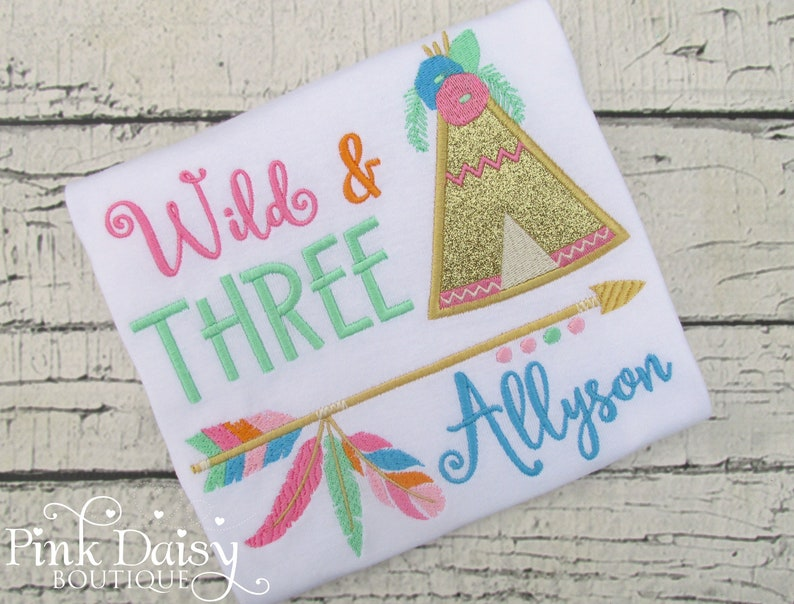 Wild Three Birthday Tutu Boho Ribbon Trim Tutu Feathers Tribal 3rd Birthday Dress Teepee Pink Mint Turquoise Gold Arrows