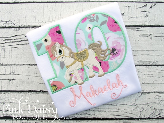 Horse birthday shirt floral mint green pink gold whimsical