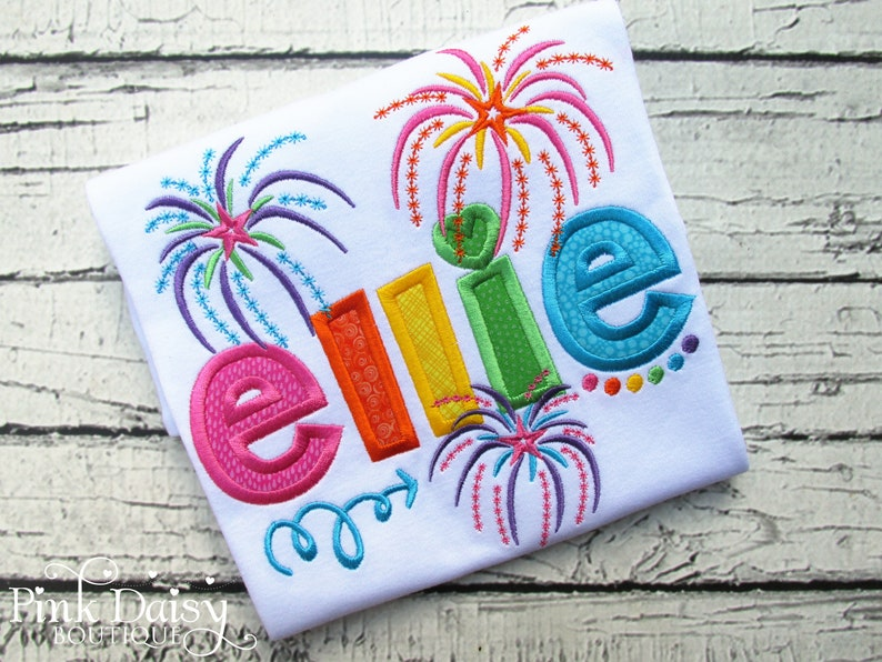 4th of July Fourth of July Rainbow Fire Works Personalized Fireworks Applique Shirt Applique Name Shirt Personalized Shirt