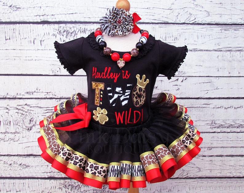 218f5875e34 TWO Wild Animal Print Birthday Tutu Outfit Wild ONE Ribbon