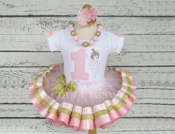 Ballerina  dress baby ballerina ballet birthday dress baby girl dress pink and gold tutu set  ballerina tutu set  4 pieces