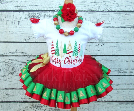 Il_570xn - Girls Christmas Tutu Outfit - Baby Christmas Dress - Red Green Gold
