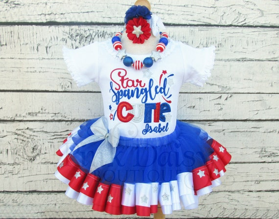 1aac58689f4a Girls 4th of July Tutu Set - Patriotic Dress - Fourth July Tutu - Red White  Blue Silver - Stars - Ribbon Tutu Pageant Outfit - Personalized