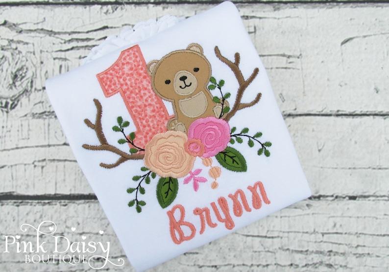 Woodland Bear First Birthday Shirt  Any Age  Boho Bear  image 0