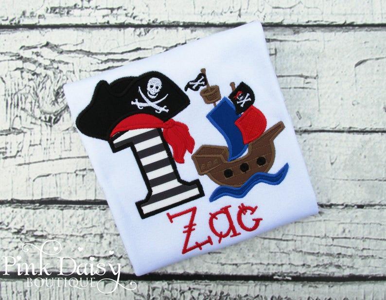 Boys Pirate Ship Birthday Shirt  Pirate First Birthday  image 0