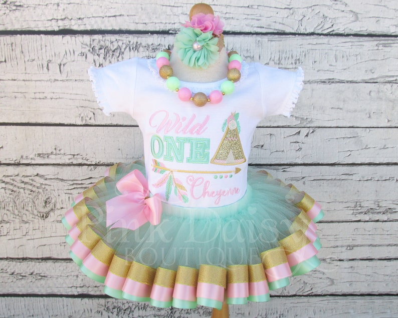 Wild ONE Birthday Outfit  First Birthday Tutu  Mint Green image 0