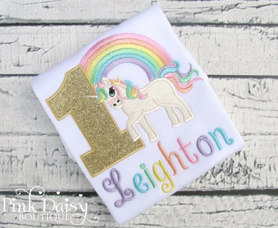 dc10f658d Unicorn Birthday Shirt - Pastel Unicorn Shirt - Rainbow Unicorn - Pastel  Rainbow - Gold Unicorn - Unicorn First Birthday Shirt - Appliqued