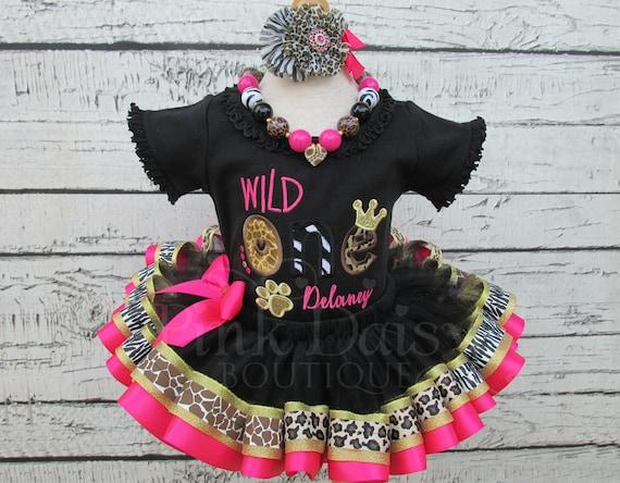 bb45c2c19c8 TWO Wild Birthday Outfit Girl Animal Print Tutu Zoo