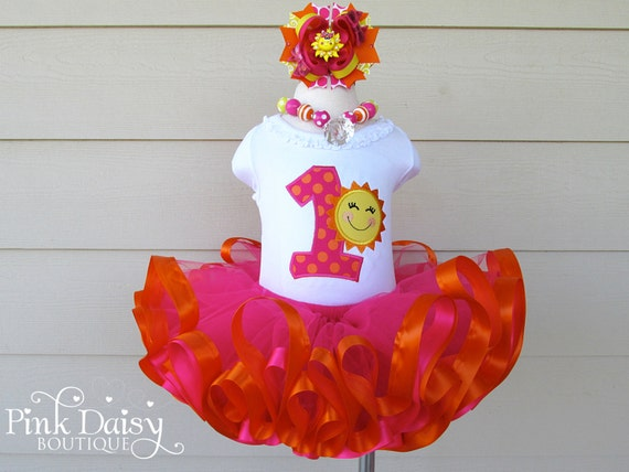 fa7e63466 Sunshine Birthday Outfit - You Are My Sunshine - Pink Orange Yellow -  Ribbon Trimmed Tutu - First Birthday Tutu Outfit - Applique Shirt