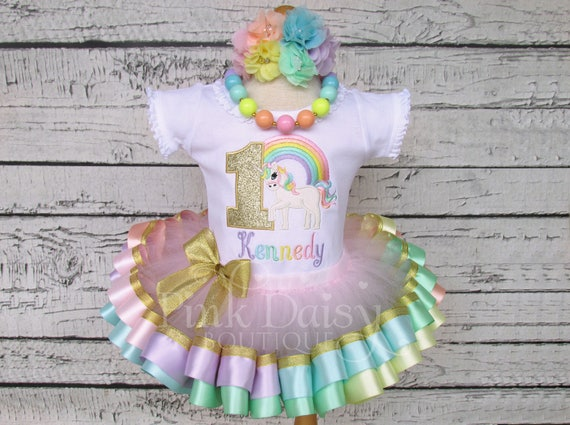 5b04be9a8 Gold Unicorn Birthday Outfit - Pastel Rainbow Unicorn Tutu Set - Pastel  Unicorn - Ribbon Tutu Outfit - First Birthday Dress - Unicorn Outfit