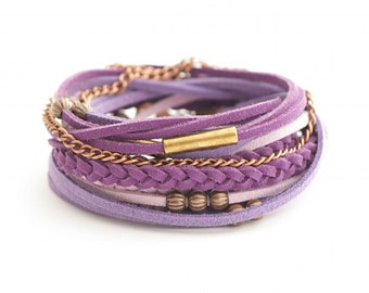 Wrap Bracelet, Purple Violet Bracelet, Leather wrap, Purple Boho bracelet, suede, double wrap, boho chic