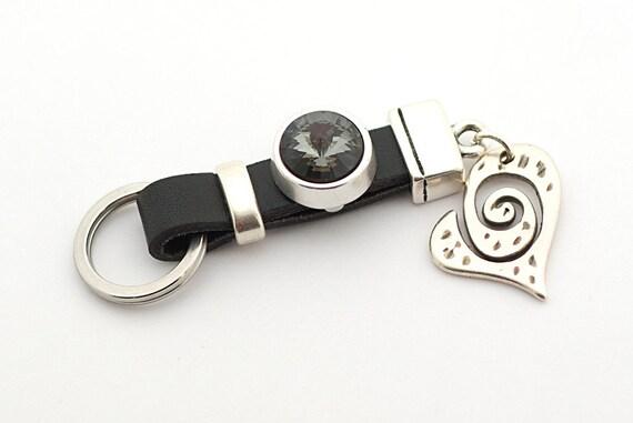 Coeur breloque porte-clés, porte-clés en cuir noir, bijoux romantique, porte-clés en cuir, Swarovki Crystal, cadeau de fête des mères, meilleur ami cadeau