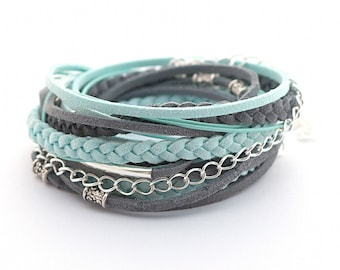 Wrap Bracelet, Mint Gray Wrap Bracelet, Leather wrap, Boho bracelet, suede, double wrap, boho chic