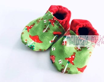 Soft Sole Baby Booties - Soft Sole Baby Shoes - Unisex Baby Booties - Baby Shower Gift - Fabric Baby Booties - Gender Reveal Gift - 0-3M