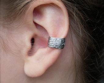 Sterling Silver Ear Cuff, Art Nouveau Style, Non Pierced Earring, No Piercing Needed