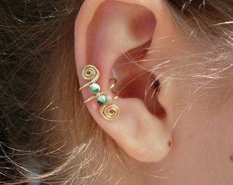 Ear Cuff, Ear Wraps, Earcuff, Single 14K Gold Filled Ear Cuff with Double Genuine Turquoise 3mm beads and swirls