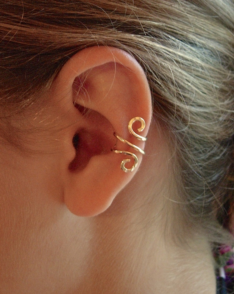 14K Gold Ear Cuff Single Rose Gold Filled Ear Cuff Or image 0