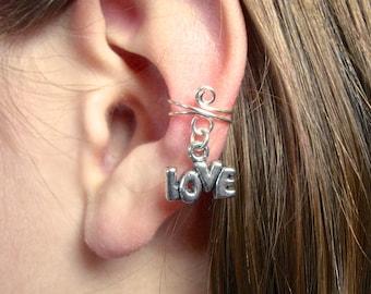Valentines Day Jewelry Ear Cuff, Silver Ear Cuff with LOVE charm, Super Cute, Popular, Fashion Trend, Feminine and FUN