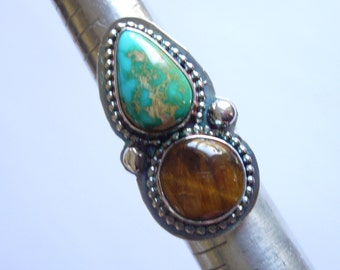 Turquoise & Tiger Eye Sterling Silver Ring, Natural Nevada Teardrop Turquoise and Round Tiger Eye set in Sterling Silver