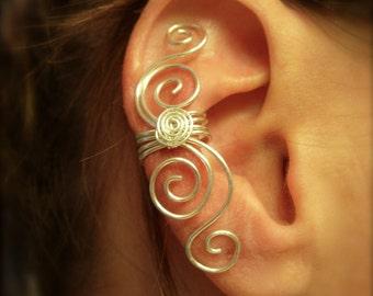 Silver Ear cuff, Gold Ear Cuff, Ear Wrap, Large Single Ear Cuff in Sterling Silver, 14K gold Filled or Silver Filled No Piercing Needed