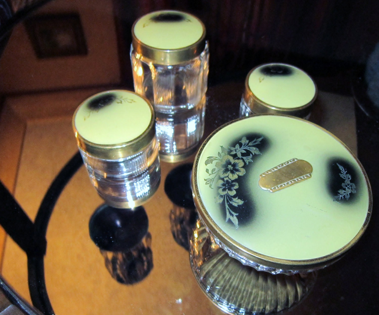 Antique Art Deco Jars Dresser Set Yellow Black Clear Glass