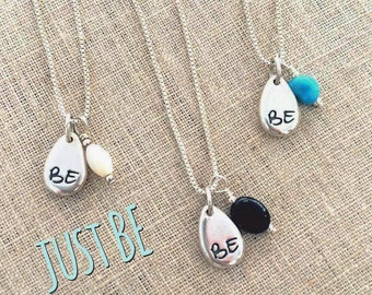 Just BE Charm Necklace - Nuturing, Protected, Healing -  Mother of Pearl, Turquoise, Onyx - ZEN by Karen Moore Positive Energy Jewelry